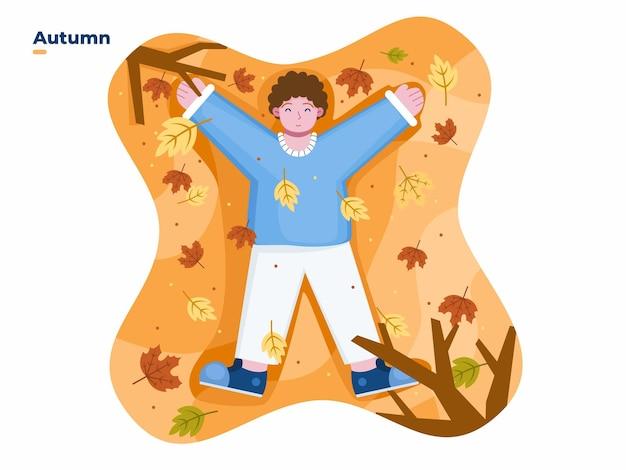 秋の季節の間に公園で遊ぶことを楽しんでいる子供たちベクトルフラットイラスト