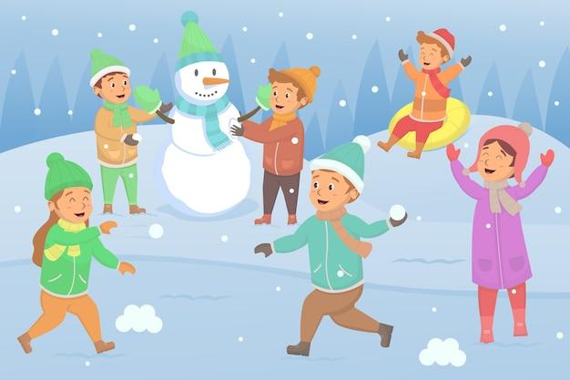 冬のイラストで外で遊ぶのを楽しんでいる子供たち