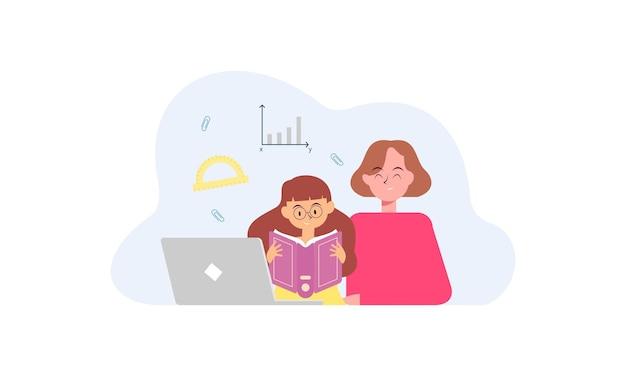 온라인 수업 개념 그림을 가진 아이