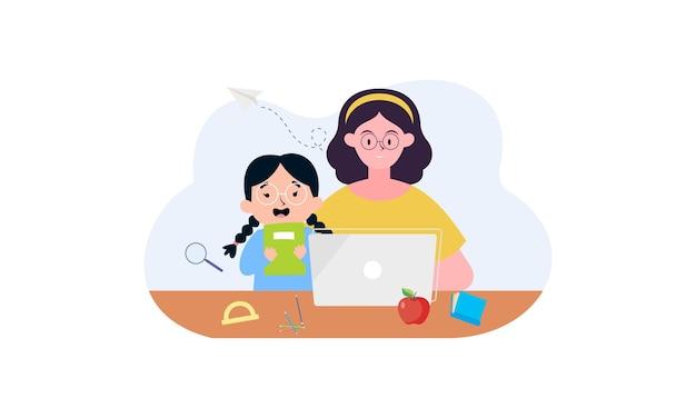 オンラインレッスンのコンセプトイラストを持っている子供たち