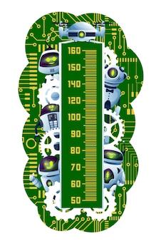 子供の身長チャート。回路基板上の漫画のロボットとアンドロイド。かわいいロボット、未来的なドロイドまたはエイリアンのサイボーグのキャラクター、歯車、マザーボードのトラックを備えた未就学児の成長測定メーター