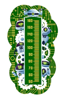 Kids height chart. cartoon robots and androids on circuit board. preschooler growth measure meter with cute robots, futuristic droids or alien cyborgs characters, gear wheels and motherboard tracks