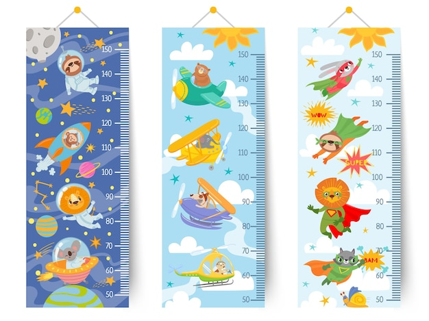 Диаграмма роста детей. мультяшная настенная линейка для детей с животными-космонавтом в космосе, пилотами в небе и супергероями, набор векторных стикеров. измерение роста в школе или детском саду