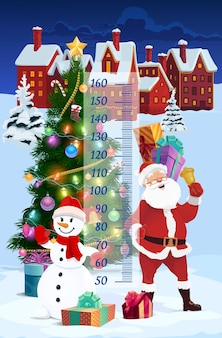 Kids height chart christmas santa in winter town