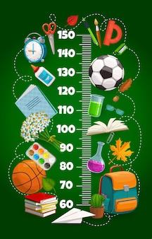 어린이 키 차트, 책가방이 있는 성장 측정기