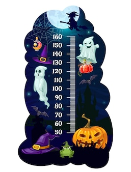 Kids height chart halloween monsters growth measure meter. cartoon vector wall sticker with wizard hat, ghosts, witch on broom and pumpkin with bat or cauldron. children height measurement scale