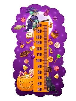 Kids height chart halloween sweets growth meter