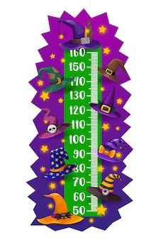 어린이 키 차트, 할로윈 마녀와 마법사 모자, 벡터 성장 측정기. 할로윈 마녀 또는 해골, 별, 좀비 안구가 있는 마법사 모자를 쓴 어린이 키 측정 스케일 또는 아기 키가 큰 자