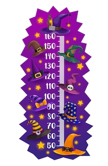 Kids height chart halloween witch and wizard hats growth meter. cartoon vector wall sticker design with funny magician caps. children height measurement scale with sorceress or astrologer headwear