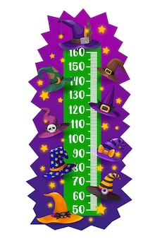 Kids height chart, halloween witch and wizard hats, vector growth meter. child height measuring scale or baby tall ruler with halloween witch or sorcerer hats with skull, stars and zombie eyeball