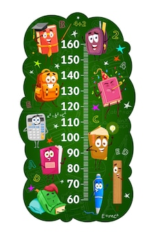 Kids height chart ruler with books and stationery