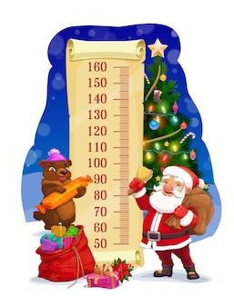 어린이 키 차트, 가방 성장 측정기가 있는 산타