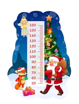 Kids height chart, santa with gift bag growth meter. vector wall sticker for children height measurement with cartoon characters angel, santa claus and cute fox near decorated christmas tree and scale