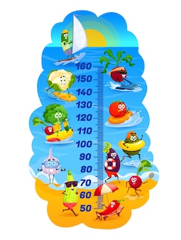 Kids height chart, vegetables on vacations, vector cartoon growth meter. kids height chart or measure scale with vegetables on summer sea beach, funny cute tomato, broccoli and avocado on surfboard