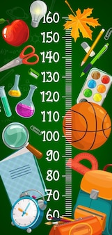 Kids height chart with cartoon school stationery