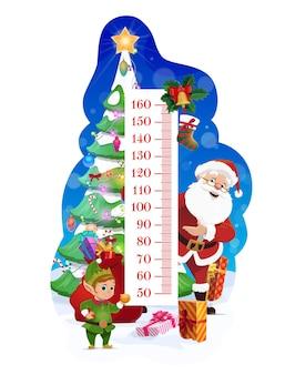 クリスマスツリーとサンタと子供の身長チャート。子供の成長メーター、面白いエルフと子供の高さセンチメートル定規ベクトルスケール、装飾されたトウヒとクリスマスプレゼントのサンタ袋、ストッキング靴下