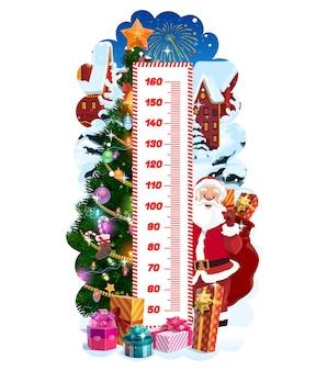 クリスマスツリーとサンタ、ベクトル成長メーターと子供の身長チャート。漫画のサンタ、クリスマスギフトバッグ、プレゼントボックス、星、雪片が付いた子供の身長測定ウォールステッカーまたはスタディオメーター