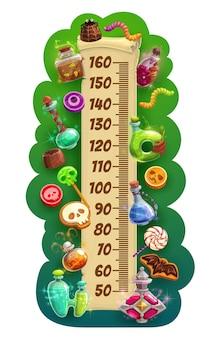Kids height chart with halloween holiday treats Premium Vector
