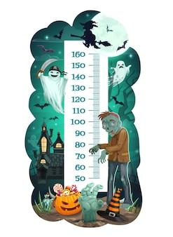 할로윈 괴물과 유령 벡터 배경이 있는 어린이 높이 차트. 어린이 성장 측정기, 센티미터 규모의 눈금자 또는 스타디오미터 벽 스티커, 만화 할로윈 호박, 마녀, 좀비