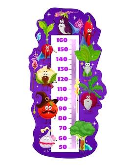 마술사와 마법사 채소, 벡터 성장 측정기가 있는 어린이 키 차트. 만화 야채 캐릭터, 후추, 토마토, 브로콜리, 가지 또는 마늘이 포함된 어린이 키 차트 또는 아기 측정 척도