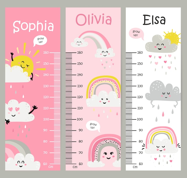Kids height chart with rainbows and sun