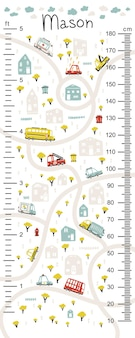 Kids height chart with road maps and cars