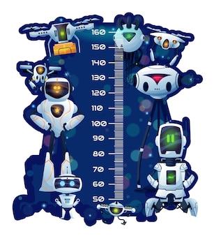 로봇과 드로이드, 벡터 성장 측정기 만화 배경이 있는 어린이 키 차트. 공간 안드로이드 로봇, 챗봇 및 기술 드론이 포함된 어린이 높이 차트 또는 아기 측정 눈금자 규모 벽 스티커