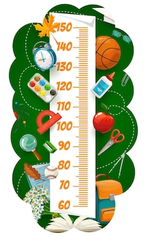 Kids height chart with school cartoon stationery