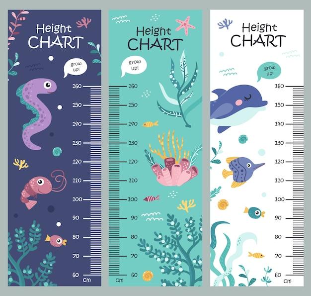 海藻と海の動物の子供の高さのグラフ。