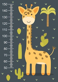 Kids height meter with a cute giraffe. funny stadiometer from 50 to 150 centimeter.