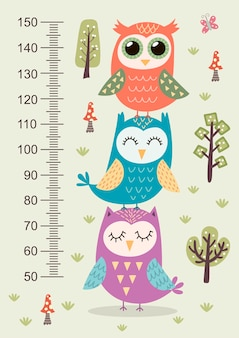 Kids height meter with cute owls.