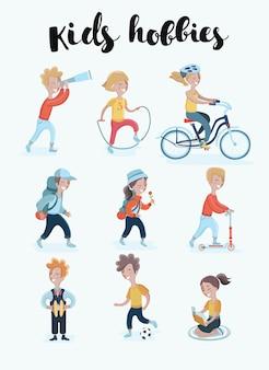 Kids hobbies set illustration