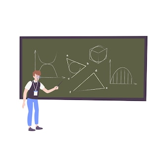 黒板に数字を描く10代の少年のキャラクターと子供の趣味フラットillustratio