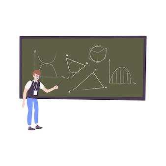 Kids hobby flat illustratio with character of teenage boy drawing figures on chalkboard