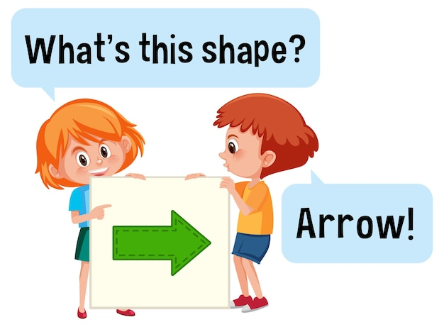 Kids holding arrow shape banner with what's this shape font
