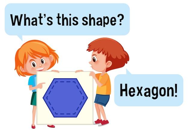 Дети держат баннер в форме шестиугольника с шрифтом what this shape