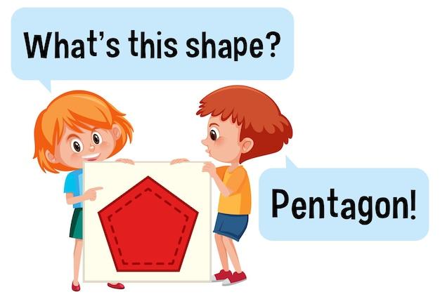 Дети держат баннер в форме пятиугольника с шрифтом what this shape