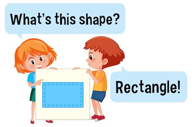 What's this shape 글꼴이 있는 직사각형 모양 배너를 들고 있는 아이들