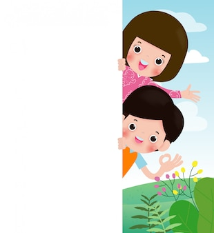 Kids holding sign, children peeping behind placard, happy children, cute little kids on background,vector illustration
