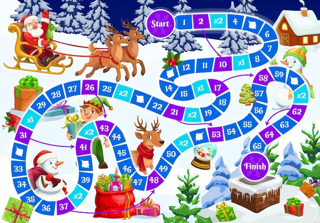 Kids holiday board game with christmas characters. children educational puzzle or playing activity, roll and move boardgame template. santa riding sleigh, reindeer and elf, snowman cartoon vector