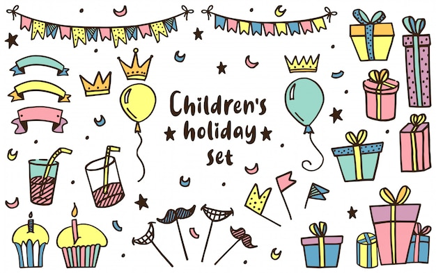 Kids holiday set in vector