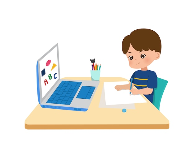 키즈 홈 스쿨링 개념. 코로나 대유행의 한가운데서 집에서 온라인 교육. 새로운 일반 시대의 온라인 학교를위한 작은 boyusing 노트북. 평면 스타일 흰색 배경에 고립입니다.