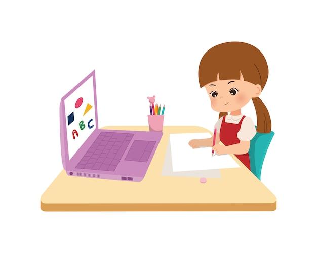 키즈 홈 스쿨링 개념. 코로나 대유행의 한가운데서 집에서 온라인 교육. 새로운 일반 시대에 온라인 학교에 대 한 노트북을 사용하는 어린 소녀. 평면 스타일 흰색 배경에 고립입니다.