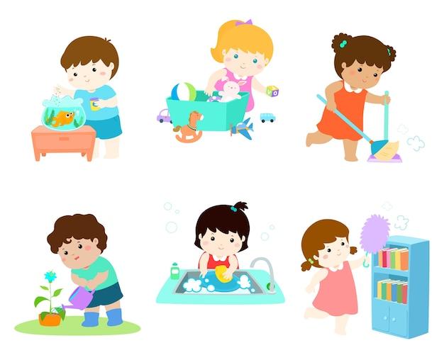 Kids do housework vector illustration set.