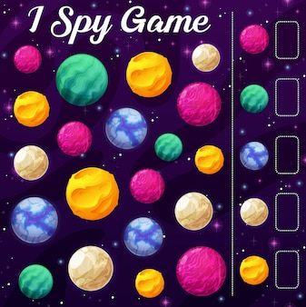Kids i spy game with cartoon vector space planets