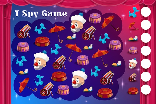 Kids i spy game with circus items and clowns