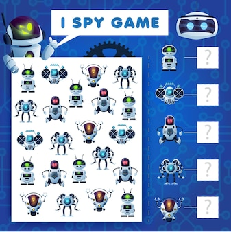 Kids i spy riddle, cartoon robots education vector game with ai cyborgs. how many androids, bots and drones mathematics test worksheet page for children. development of numeracy skills and attention