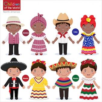 さまざまな伝統衣装を着た子供たち-ジャマイカ-キューバ-メキシコ