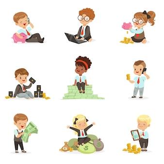 Дети в финансовом бизнесе набор милых мальчиков и девочек, работающих в качестве бизнесмена, занимающихся большими деньгами