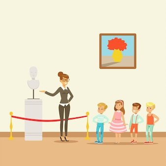 Дети в музее, глядя на классическое произведение искусства, школьная поездка в музей иллюстрация